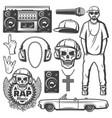 vintage rap music elements collection vector image