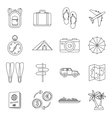 Travel icons set  outline style vector image