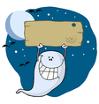 Happy ghost with plate vector image vector image