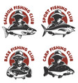 set of fishing club labels templates fisherman vector image vector image