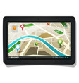 street map with gps pins on tablet pc screen vector image