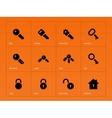 Key icons on orange background vector image vector image