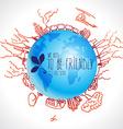 Eco concept with planet doodles about dangerous vector image