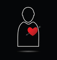 man icon with heart vector image