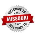 Missouri 3d silver badge with red ribbon vector image