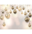 Arc background with golden christmas balls vector image