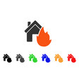 house fire disaster icon vector image
