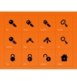 Key icons on orange background vector image