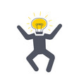 man with a bulb instead of a head jumping new vector image