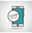 smartphone blue airplane isolated icon design vector image