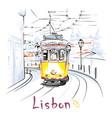 yellow 28 tram in alfama lisbon portugal vector image