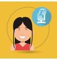 woman microphone audio speak vector image