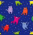 seamless pattern with funny cats on starry sky vector image