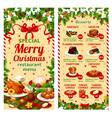 Christmas dinner restaurant dessert menu vector image