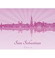 San Sebastian skyline in purple radiant orchid vector image vector image