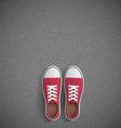 Vintage sneakers stand on asphalt vector image