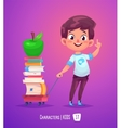 Cute boy with books Back to school vector image