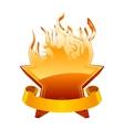 Burning star emblem vector image