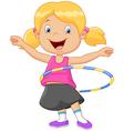 Cute girl twirling hula hoop vector image