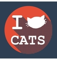 I love cats flat retro vintage icon vector image