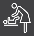 mother swaddle baby line icon care and motherhood vector image