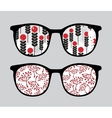 Retro sunglasses with brunches reflection in it vector image