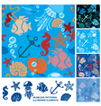 Seamless background with Marine life vector image