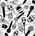 Seamless pattern of microphones vector image