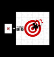 think big concept of jigsaw puzzle with target vector image