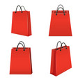 realistic template blank red paper bag set vector image vector image