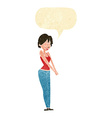 cartoon content woman with speech bubble vector image