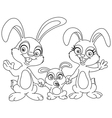 outlined bunnies family vector image vector image
