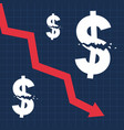 crashed dollar sign and falling graph financial vector image