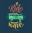 retro poster of surfer on the waves in hawaii vector image