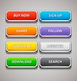 Set of Colorful Buttons in Chrome Frames vector image