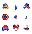 usa icons set cartoon style vector image