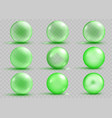 set of transparent and opaque green spheres vector image