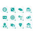 stylized casino and gambling icons vector image vector image