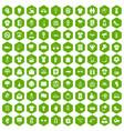100 t-shirt icons hexagon green vector image
