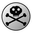 Skull and bones danger sign button vector image