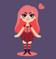Happy Girl Next to a Floating Heart vector image