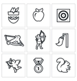 Set of Archery Icons Robin Hood Apple vector image