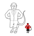 Devil Coloring book Demon in linear style Crafty vector image
