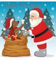 santa and dog vector image
