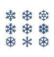 snowflake blue icons set vector image