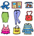 women clothes set doodles vector image