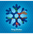 Christmas Snowflake with lettering on background vector image