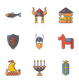 viking equipment icons set cartoon style vector image