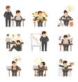 Stress at work icons set
