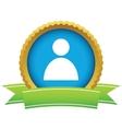 Gold user profile logo vector image